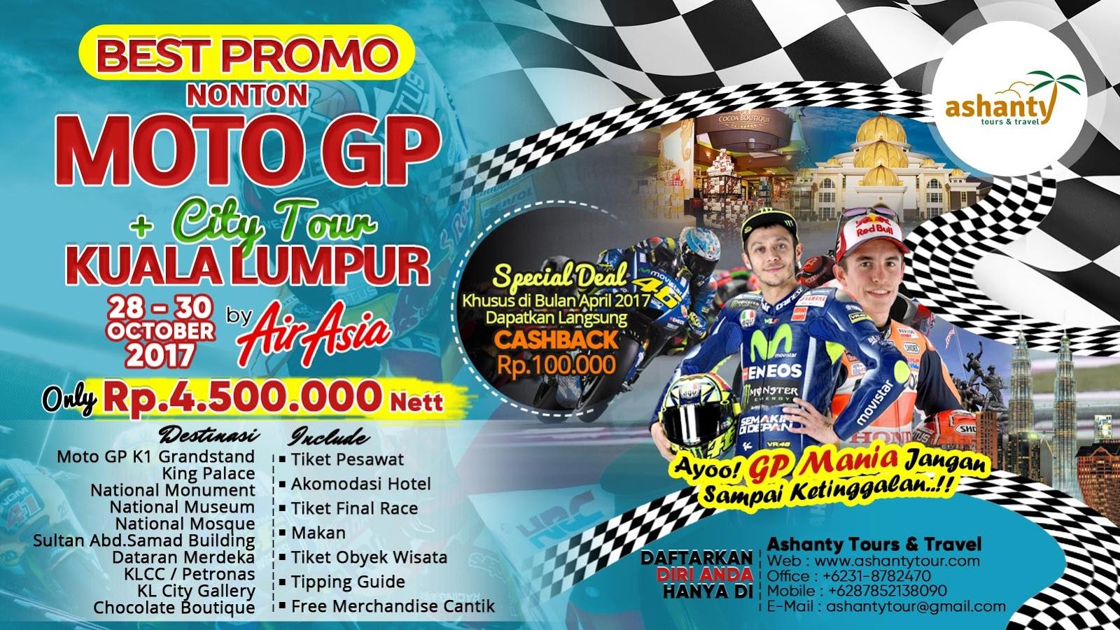 paket tour motogp sepang 2018 dari surabaya, harga paket tour motogp sepang 2018, paket nonton motogp sepang 2018