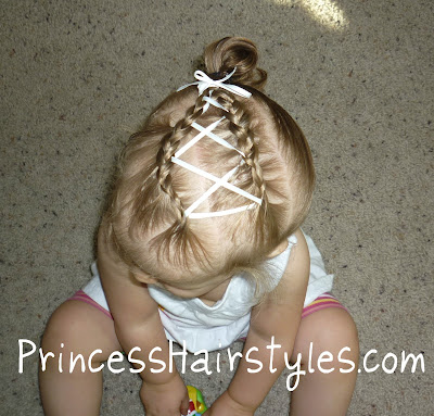 ribbon criss cross hairstyle