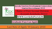 Karnataka State Tourism Development Corporation Limited Recruitment 2018- 57 Second Division Account Assistant, Driver