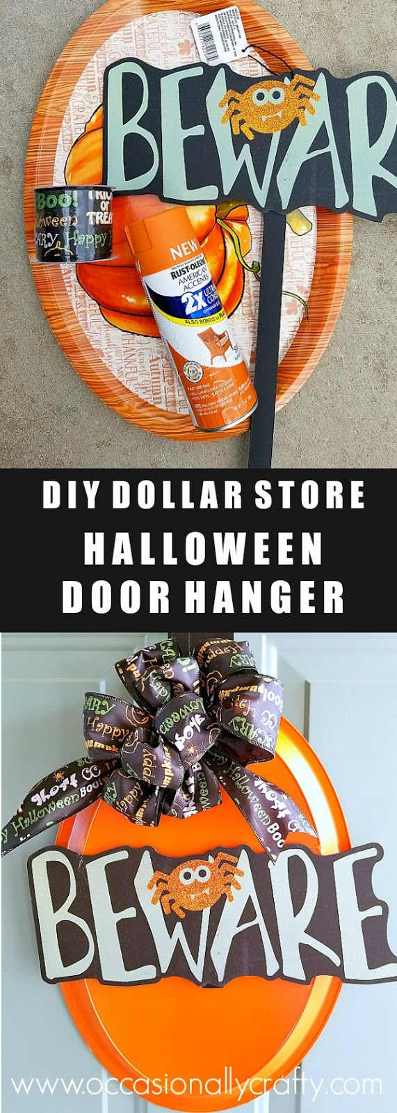 Use just three dollar store supplies and some spray paint to make your own Halloween Door Hanger!