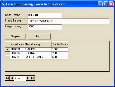 Cara Input Ke Database Dengan VB 6.0