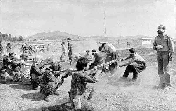 Execution by a firing squad in Iran. This photo won the Pulitzer's prize in 1979.