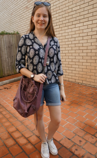 casual dress worn as top tucked into bermuda denim shorts SAHM errand outfit | awayfromblue