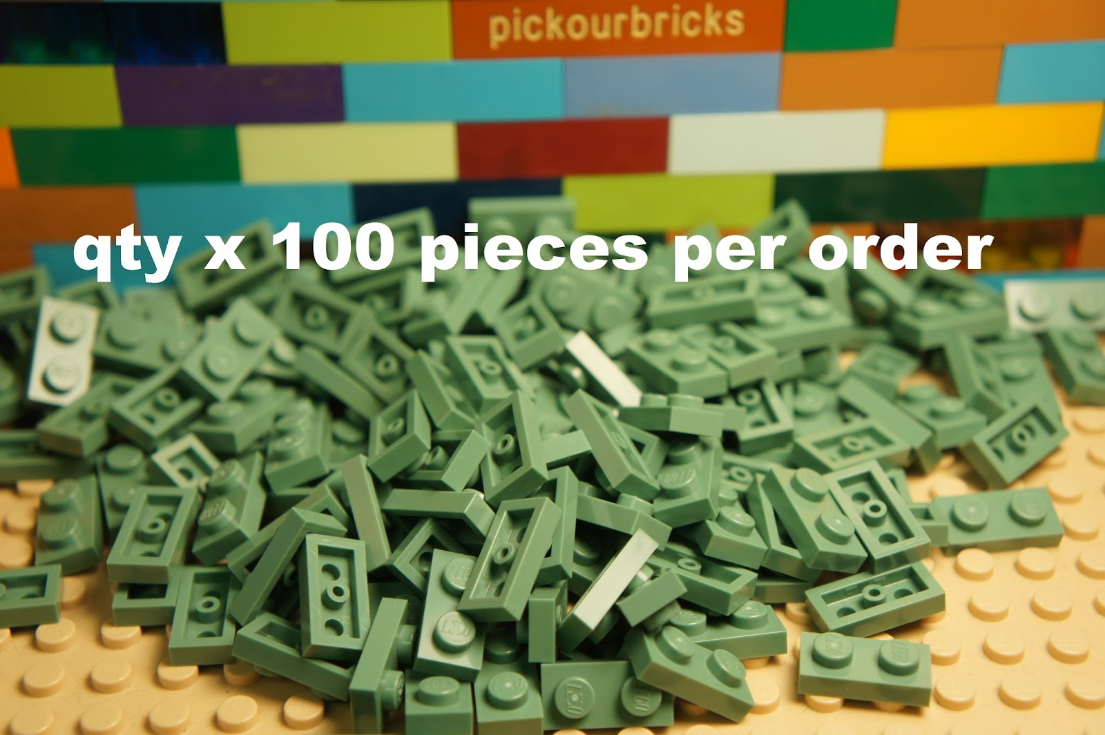 LEGO LOT OF 50 NEW SAND GREEN 1 X 6 DOT BRICKS BUILDING BLOCKS PIECES
