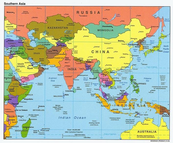 Südasien Karte.Karte Von Asien Region Provinz