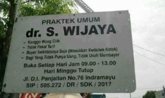 Viral! Dokter S. Wijaya, Dokter di Indramayu Yang Rela Dibayar Seikhlasnya