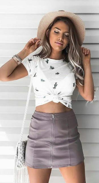 White shirt with zipper skirt