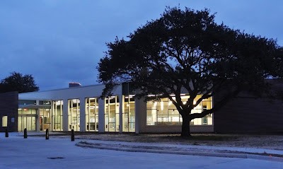 Jungman Neighborhood Library renovation (Nov 2015 dusk pic with interior lights on)