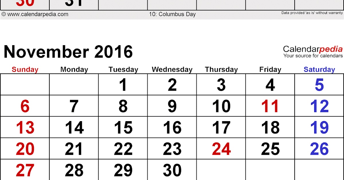 ... Calendar : October November December 3 Months Printable Calendar 2016