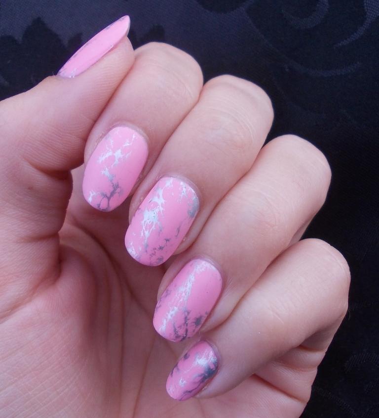 pink october pink marble nail art