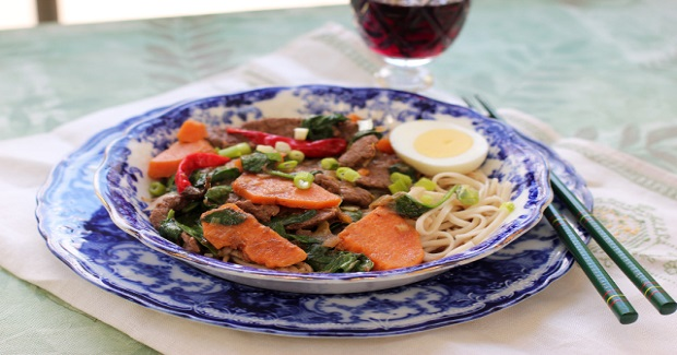 Beef Noodle Bowl With Sweet Potatoes Recipe