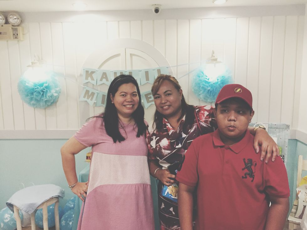 Photo with our cousin during our Stacy's BGC baby shower