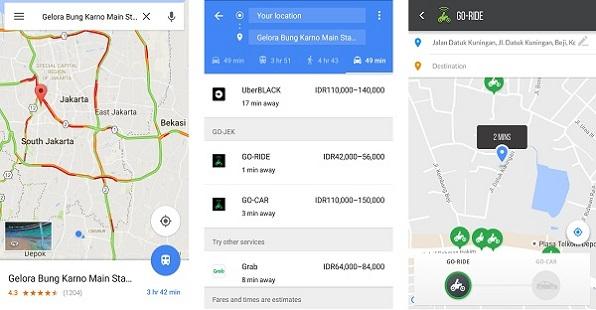 Cara Pesan Gojek, Grab, dan Uber Menggunakan Google Maps