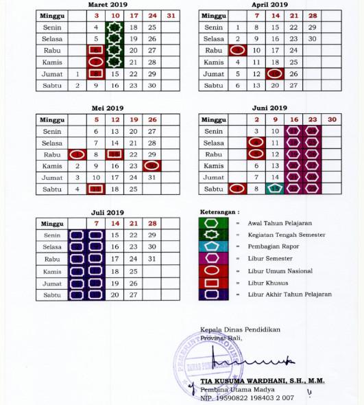 Lampiran 2 Kalender Pendidikan BALI Tahun Pelajaran 2018/2019