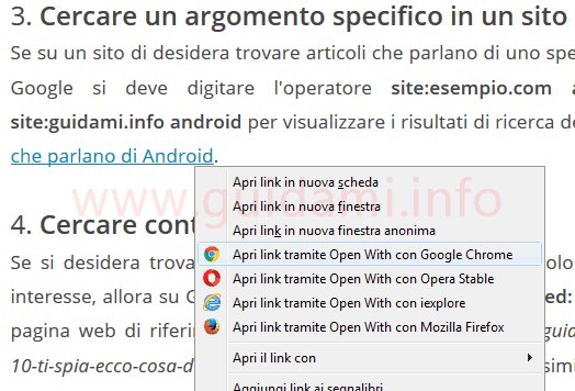 Firefox menu contestuale link con opzioni Open With addon