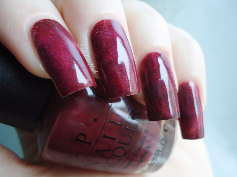 garnet inspired sponging nail art