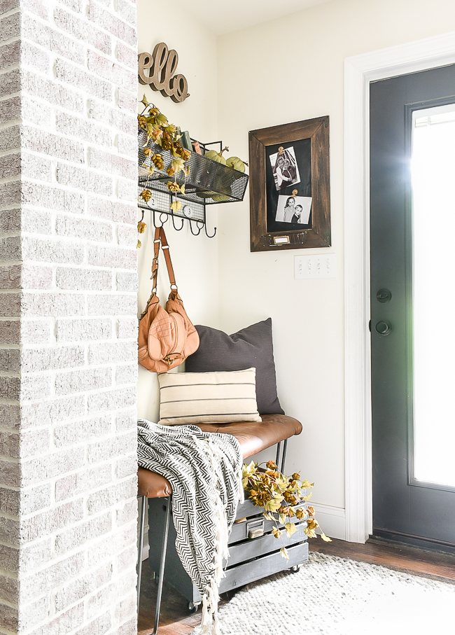 Neutral and simple fall mudroom decor