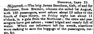 Climbing My Family Tree: The James Beacham Shipwreck,   as reported in The Washington National Intelligencer