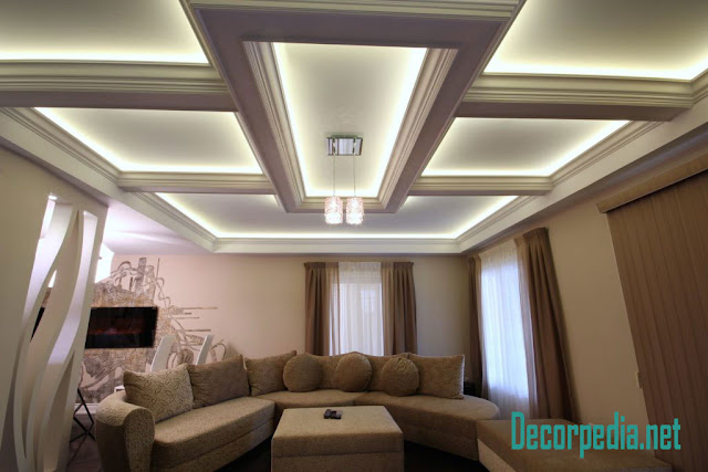 pop design, pop false ceiling design for living room and hall, coffered ceiling with backlight
