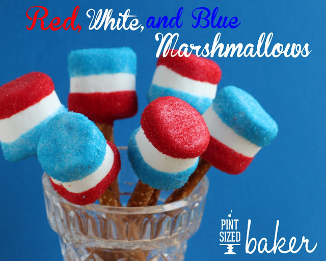 Fun for the Kids! These Red White and Blue jumbo marshmallows are a ton of fun!
