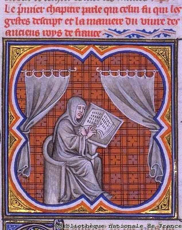 Eginhard escrevendo a vida de Carlos Magno, Grandes Chroniques de France