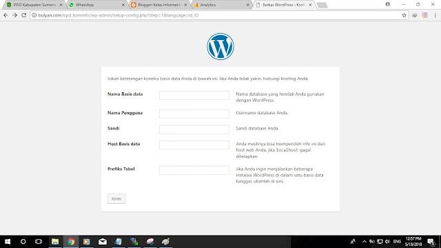 Kelas Informatika - Form Koneksi Database Wordpress