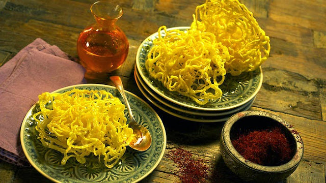 fried Persian dessert works equally well with any kind of sugar syrup Saffron zoolbia (deep-fried pastry with saffron sugar syrup) recipe