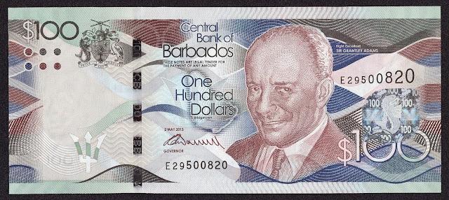 Barbados Banknotes 100 Dollars banknote 2013 Sir Grantley Adams