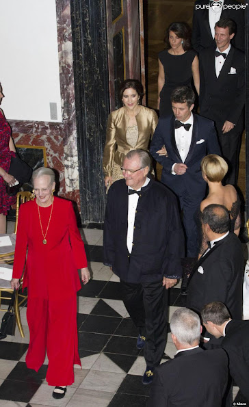 Queen Margrethe, Prince Henrik, Crown Prince Frederik, Crown Princess Mary, Prince Christian, Princess Isabella, Prince Joachim, Princess Marie, Prince Felix and Prince Nikolai at dinner