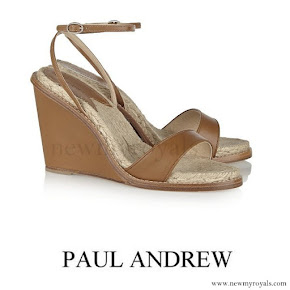 Queen Maxima wore PAUL ANDREW Hampton leather wedge sandals