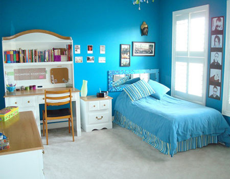 Bedroom for Minimalist Girls in Blue