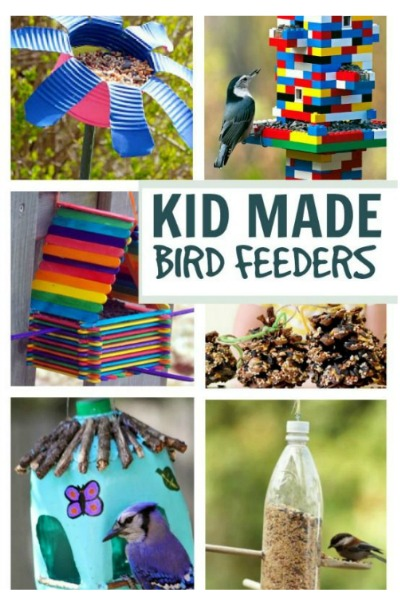 18 TOTALLY AWESOME bird feeder crafts for kids. These are SO COOL! I love the Lego bird feeder! #birdfeeders  #springcraftsforkids #birdfeedersdiy #birdfeedersforkidstomake #birdfeedershomemade #birdfeedersdiykids