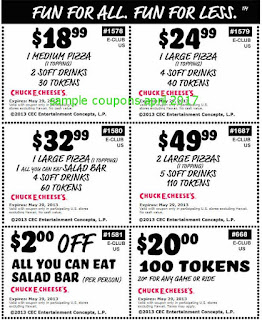 free Chuck E Cheese coupons april 2017
