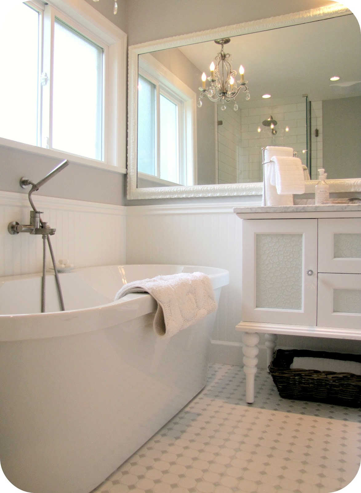 My house of giggles white and grey bathroom renovation - White bathroom ideas photo gallery ...