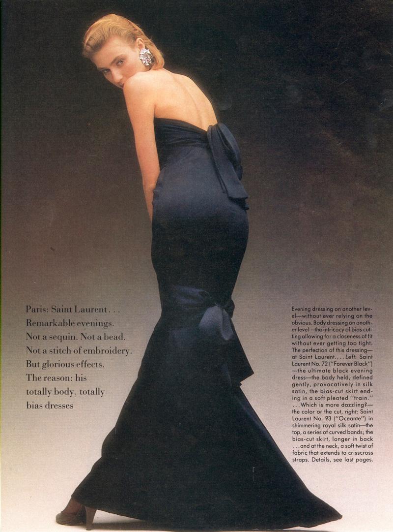 Christy Turlington wearing Yves Saint Laurent in Vogue US April 1986 (photography: Dominique Issermann) via www.fashionedbylove.co.uk