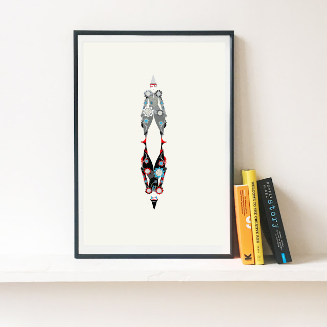 David Bowie 'The Blue Clown' Illustrated Art Print