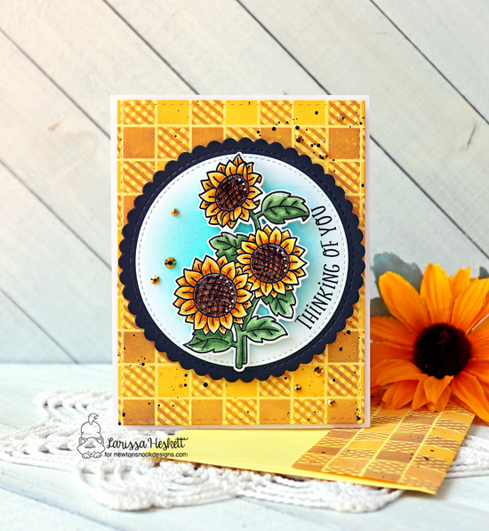 Thinking of You Sunflower Card by Larissa Heskett | Sunflower Days Stamp Set, Floral Roundabout Stamp Set, Circle Frames Die Set and Gingham Stencil by Newton's Nook Designs #newtonsnook #handmade