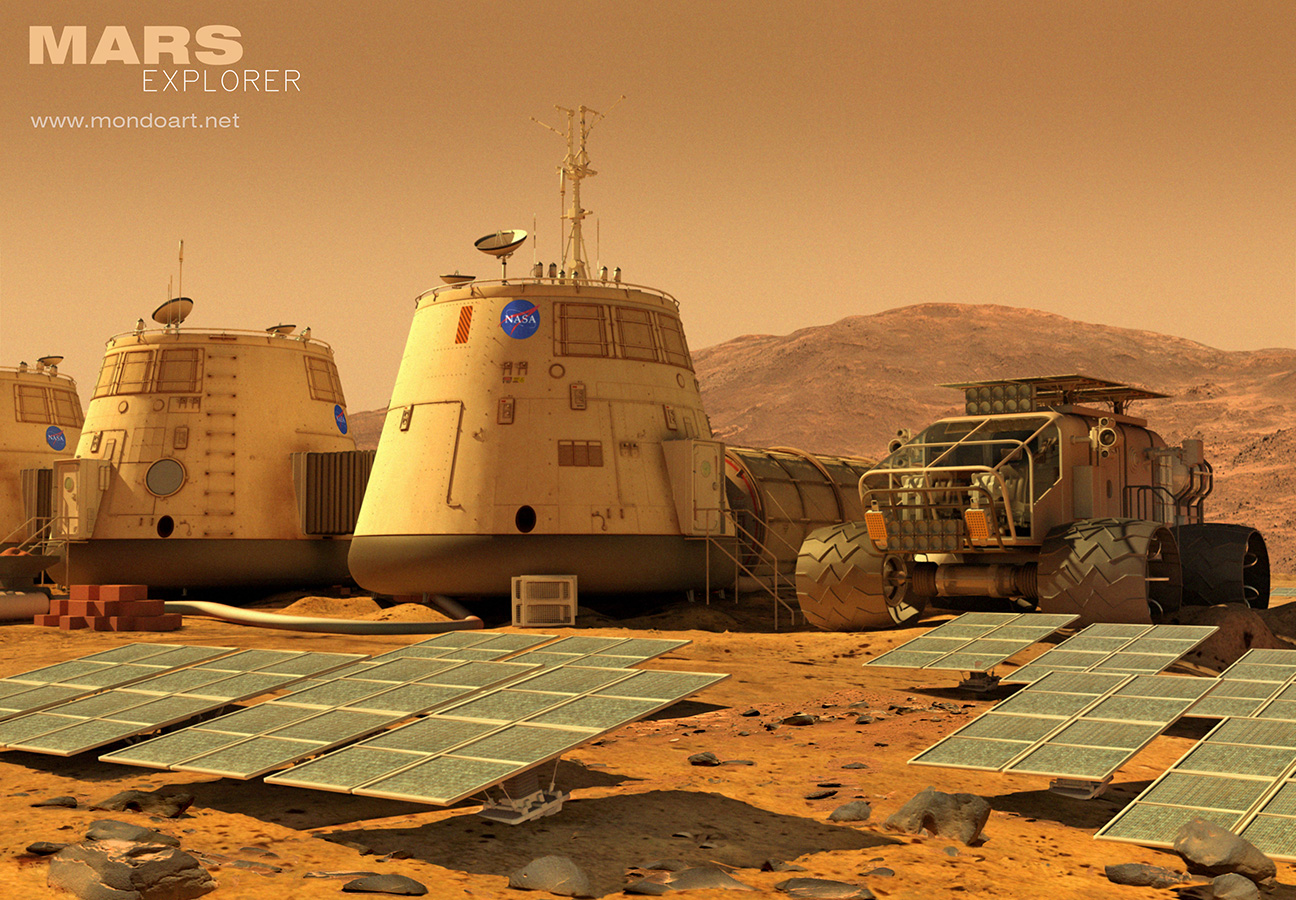 Mars Explorer base and rover by Mondolithic Studios