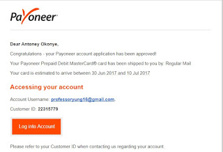 payoneer account approval mail