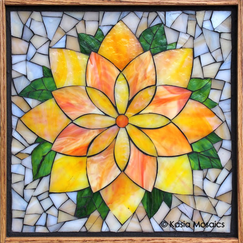Yellow Lotus Flower Mosaic