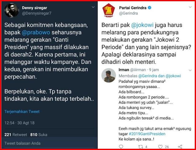 Lagi! Admin @Gerindra Bungkam Pendukung Jokowi, Kali ini Denny Siregar