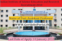 Indian Institute of Science Education and Research Recruitment 2018– Assistant Professor