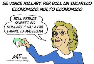 hillary clinton, bill clinton, economia, vignetta, satira