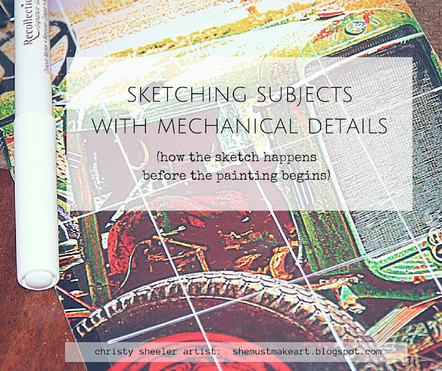 Sketching Subjects with mechanical details, sketching before the painting happens, artist process, drawing for proportions, using grids to sketch
