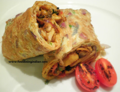 Fine dining Khatti roll khatti kabab mushroom,chicken finediningindian.com