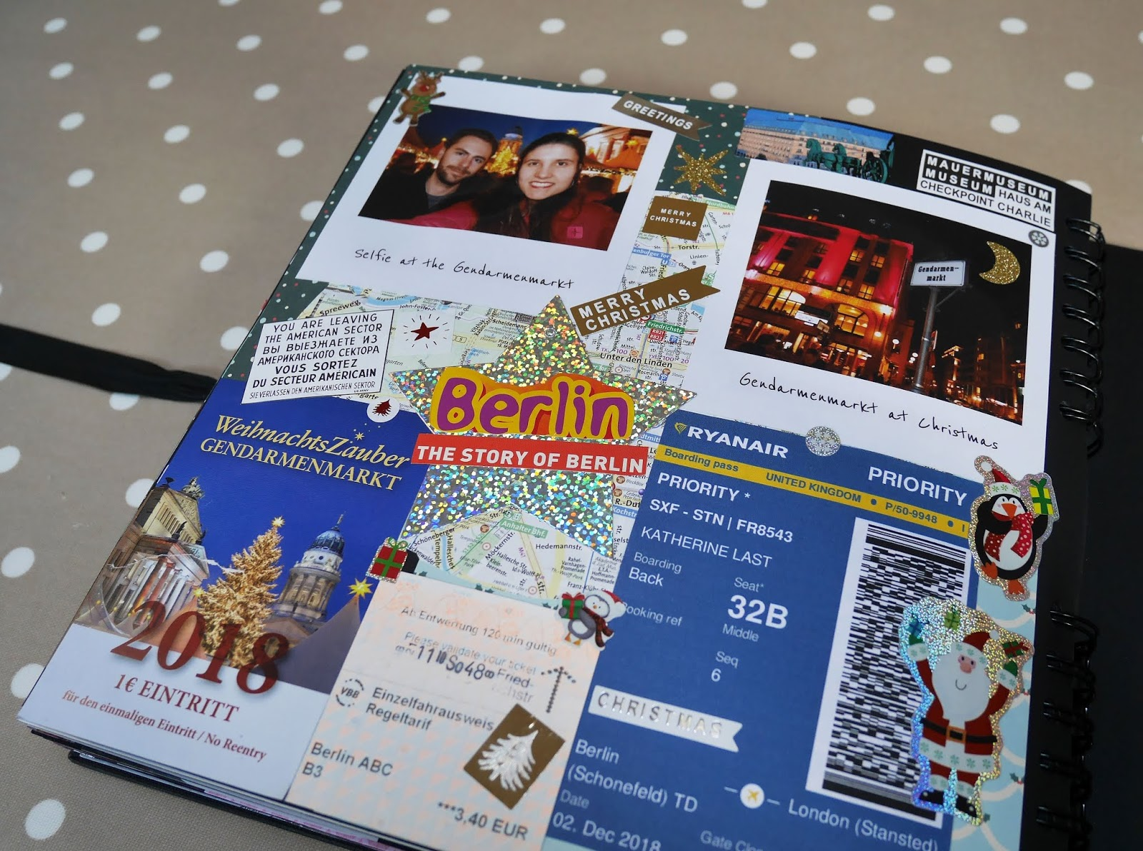 A Berlin Christmas Markets page in my 2018 travel scrapbook