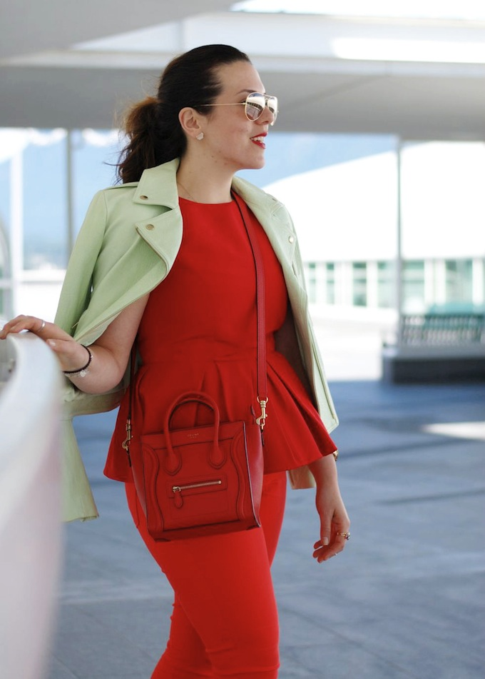 Cherry-hued Tibi peplum, Celine Nano go green with a leather Theory jacket