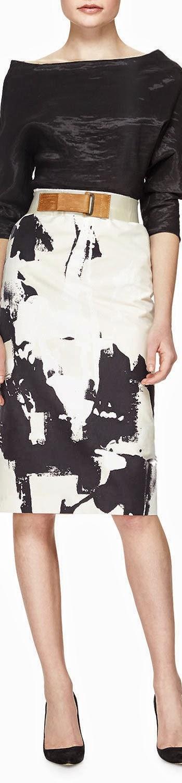 Donna Karan Splatter Brushstroke-Print Skirt