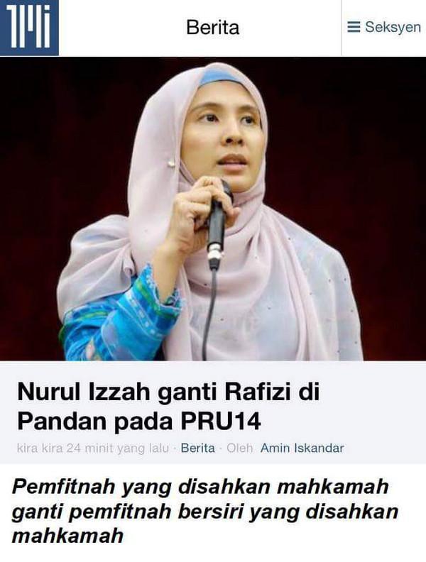 Elaun Ahli Parlimen yang duterima Nurul Izah adalah hasil FITNAH