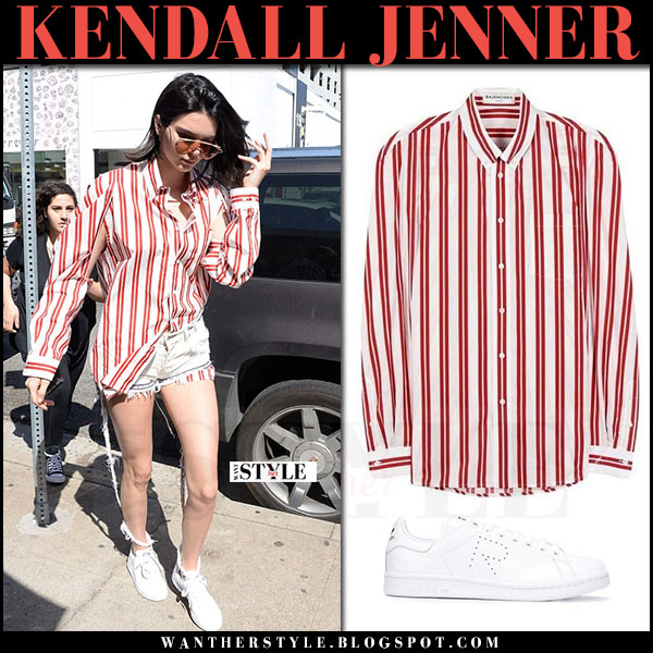 Kendall Jenner in red striped balenciaga shirt, shorts and white sneakers what she wore march 2017